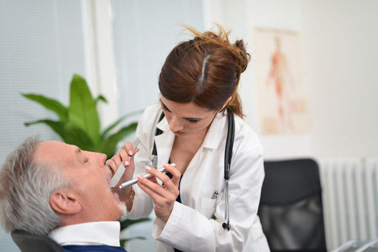 doctor throat examination